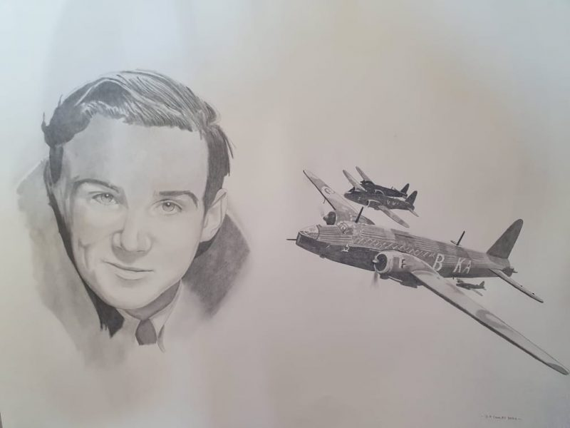 RAF Sergeant Navigator of the Wellington Bomber Billy Clarke (From Douglas) alongside a wellington bomber