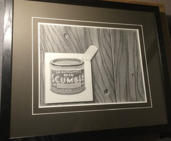 A pencil study of a tin of J H Radcliffe oil scumble on wood