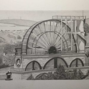 Pencil drawing of the Lady Isabella - the Laxey Wheel