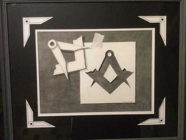 An original Trompe l'oeil Pencil Study Of the Masonic Compass and Square.