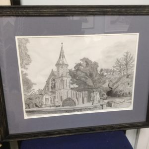 pencil study of Sulby Church, Isle of Man by David Paul Cowley